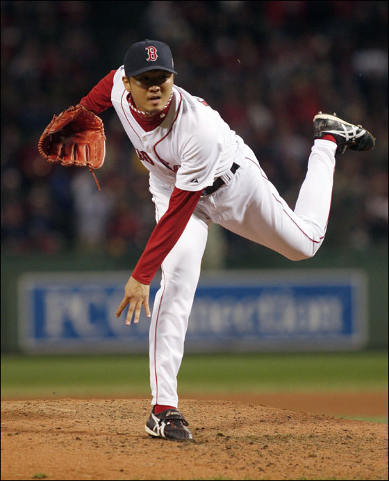 Red Sox reliever Hideki Okajima pitches against the Colorado Rockies in Game 2 of Major League Baseball's World Series in Boston October 25, 2007