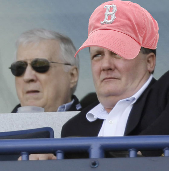 New York Yankees principal owner George Steinbrenner, left, watches a spring training baseball game against the University of South Florida with his son Hank Steinbrenner Friday, Feb. 29, 2008 in Tampa, Fla.