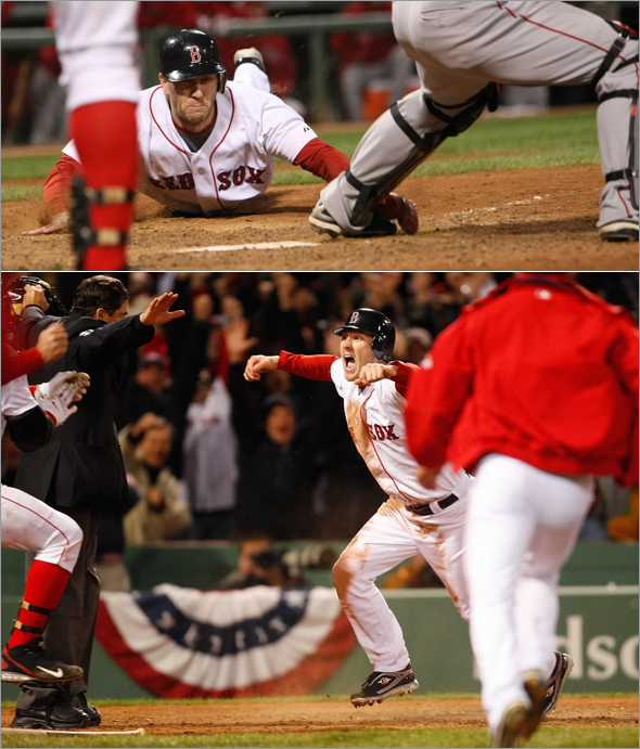 Jason Bay scores the winning run during the 9th inning.The Boston Red Sox host the Los Angeles Angels in game 4 of the ALDS series played at Fenway Park in Boston, MA Monday, Oct. 6, 2008