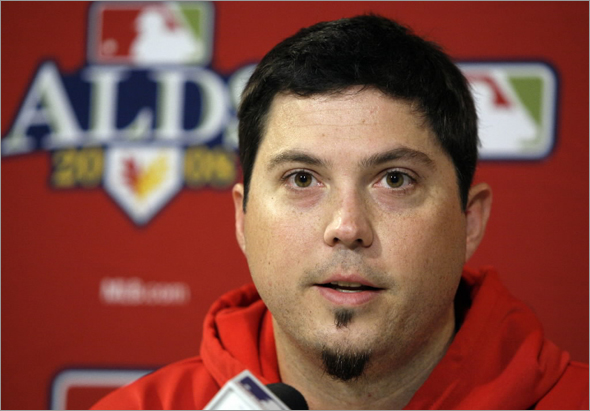 Josh Beckett speaks during a news conference at Fenway Park in Boston, Saturday, Oct. 4, 2008. Beckett will start against the Los Angeles Angels in Game 3 of the American League division baseball series on Sunday night. The Red Sox defeated the Angels 7-5 on Friday to take a 2-0 lead in the series.
