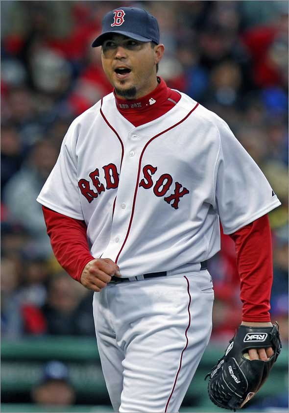 The Boston Red Sox opened the 2009 season against the Tampa Bay Rays at Fenway Park. Here starting pitcher Josh Beckett reacts after getting out of a second and third, nobody out jam in the tiop of the sixth inning without allowing a run.