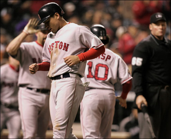 Jacoby Ellsbury and Coco Crisp score on a double by Dustin Pedroia in the 8th.