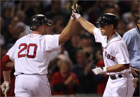 Red Sox vs. Florida Marlins: Jacoby Ellsbury high 5's with Kevin Youkilis after his home run in 7th inning.