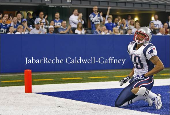 Patriots wide reciever Jabar Gaffney (much to the delight of the Colts fans) is alone and down on the turf (as well as himself) after he couldn't come up with what appeared to be a catchable pass in the fourth quarter near the goal line.