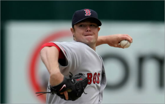 Jonathan Lester of the Red Sox pitches against the Oakland Athletics during the first inning at the McAfee Coliseum April 2, 2008 in Oakland, California.