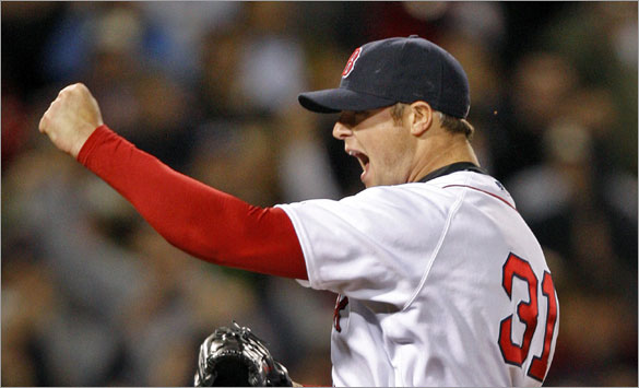 Red Sox pitcher Jon Lester celebrates after the final out of his no hitter vs. the Royals.