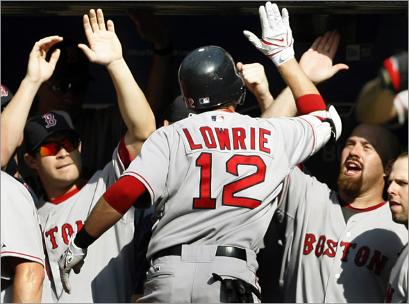 Jed Lowrie celebrates his home run against the Toronto Blue Jays with teammates in the dugout during the eleventh inning of their MLB American League baseball game in Toronto, August 24, 2008.