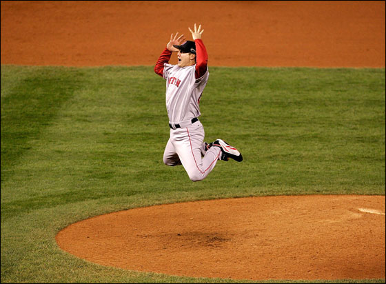 Jonathan Papelbon of the Boston Red Sox celebrates after winning Game Four by a score of the 4-3 to win the 2007 Major League Baseball World Series in a four game sweep of the Colorado Rockies at Coors Field on October 28, 2007 in Denver, Colorado.