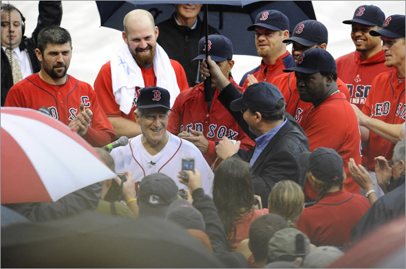 Johnny Pesky enjoys a ceremony in which his Boston Red Sox uniform number 6 is retired prior to the start of a MLB game against the New York Yankees at Fenway park in Boston, MA Sunday, September 28, 2008.