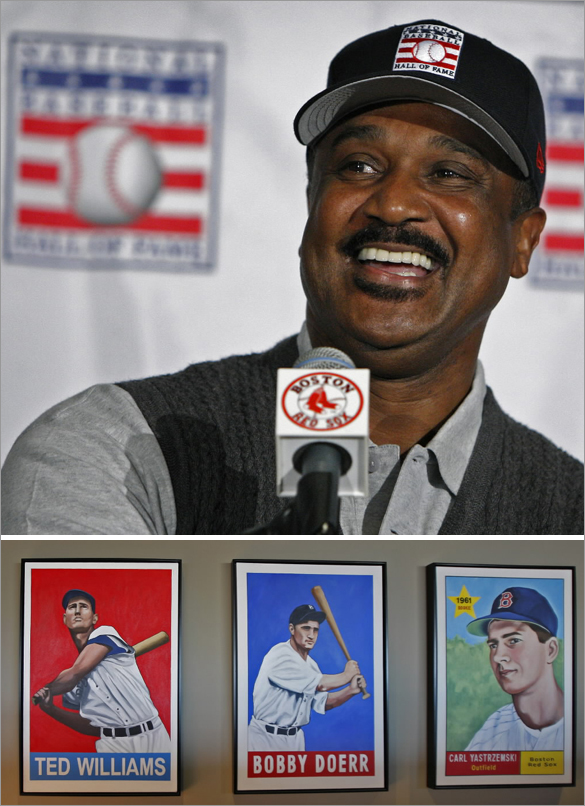 01/12/09: Former Boston Red Sox slugger Jim Rice was elected to the Baseball Hall of Fame today on his fifteenth and final year of eligibility. He is shown as he answers questions at a late afternoon press conference held at Fenway Park.