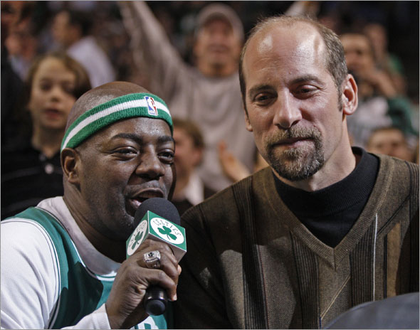 Willie Don't-Call-Me-Hazel Mae interviewing John Smoltz, the Boston Red Sox newest starting pitcher during the break between the third and fourth quarters of the Boston Celtics and Toronto Raptors game at the TD BankNorth Garden on Monday January 12, 2009.