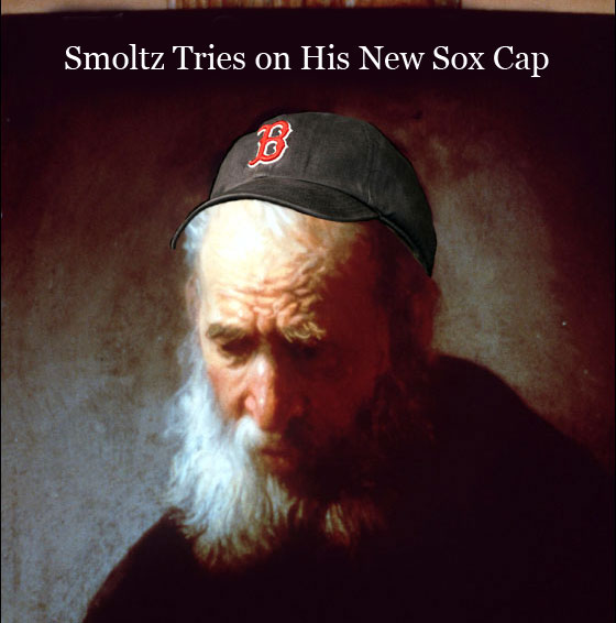 BDD -- John Smoltz tries on his Sox cap