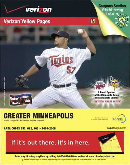 Minnesota Twins pitcher Johan Santana graces the cover of the Greater Minneapolis Verizon Yellow Pages