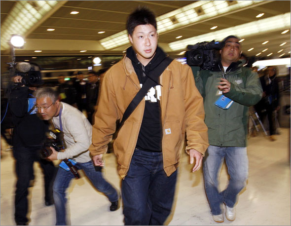 Japanese pitcher Junichi Tazawa arrives at New Tokyo International Airport, in Nairta, east of Tokyo, Monday, Dec. 1, 2008.  Tazawa moved a step closer to signing with the Boston Red Sox after rejecting offers from three other major league teams.
