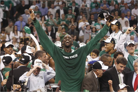 Boston Celtics' Kevin Garnett reacts after winning in the fourth quarter. Boston Celtics play against Los Angeles Lakers in NBA Finals on Tuesday, June 17, 2008 at TD Banknorth Garden.