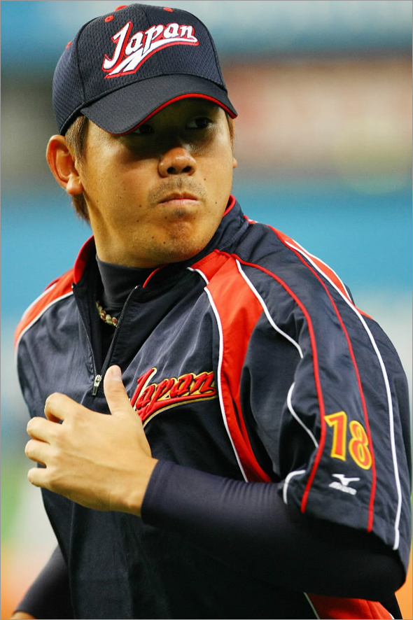 Pitcher Daisuke Matsuzaka #18 of Japan attends a practice session prior to playing an exhibition match between Japan and Australia at Kyocera Dome Osaka on February 24, 2009 in Osaka, Japan.