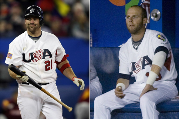 Kevin Youkilis of the USA reacts after he struck out and ended the game during the 2009 World Baseball Classic Pool C match at the Rogers Centre March 11, 2009 in Toronto, Ontario, Canada. Venezuela defeated the USA 5-3.  Dustin Pedroia watch seventh-inning.