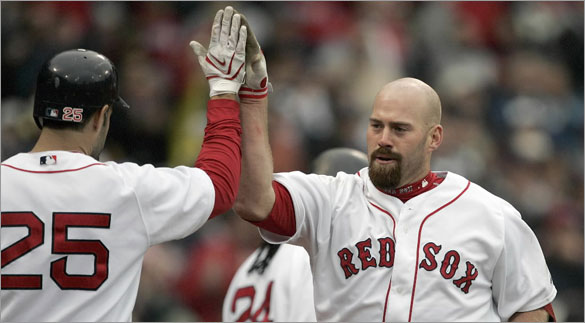 Kevin Youkilis, right, celebrates his solo home run with teammate Mike Lowell (25) in the seventh inning of a baseball game against the Tampa Bay Rays, Sunday, May 4, 2008, in Boston.