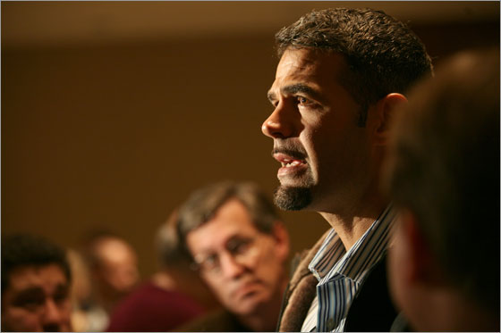 Mike Lowell of the Boston Red Sox talks to the media Thursday January 17, 2008
