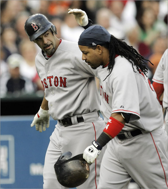 Red Sox's Mike Lowell, left, is congratulated by Manny Ramirez after hitting a two-run home run against the Detroit Tigers in the second inning of an MLB baseball game in Detroit, Monday, May 5, 2008. Ramirez scored on the play.