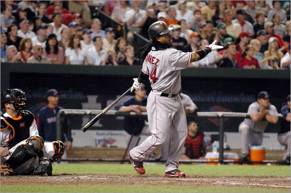 Manny Ramirez of the Boston Red Sox hits his 500th home run in the seventh inning against the Baltimore Orioles May 31, 2008 at Camden Yards in Baltimore, Maryland.