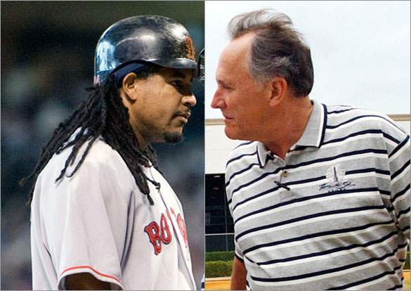Red Sox longtime traveling secretary Jack McCormick and Red Sox outfielder Manny Ramirez