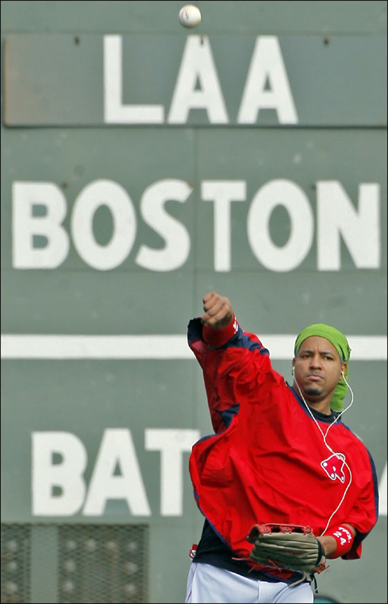 The Red Sox will open the 2007 American League Division Series at Fenway Park tomorrow night vs. the Los Angeles Angels of Anaheim. Today, leftfielder Manny Ramirez, with his music and his green hair covering worked out.