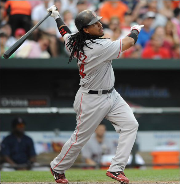 Manny Ramirez follows through on a two-run home run against the Baltimore Orioles during the fourth inning of a baseball game Sunday, June 1, 2008, in Baltimore.