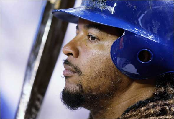 Manny Ramirez of the Los Angeles Dodgers prepares to bat during the game against the Arizona Diamondbacks at Chase Field on April 10, 2009 in Phoenix, Arizona.