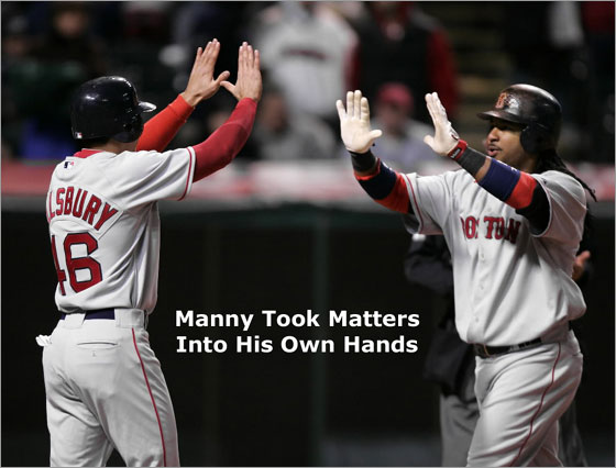 Manny Ramirez, right, is greeted by teammate Jacoby Ellsbury after Ramirez's two-run homer off Cleveland Indians relief pitcher Joe Borowski broke a tie in the ninth inning of a baseball game Monday, April 14, 2008, in Cleveland.