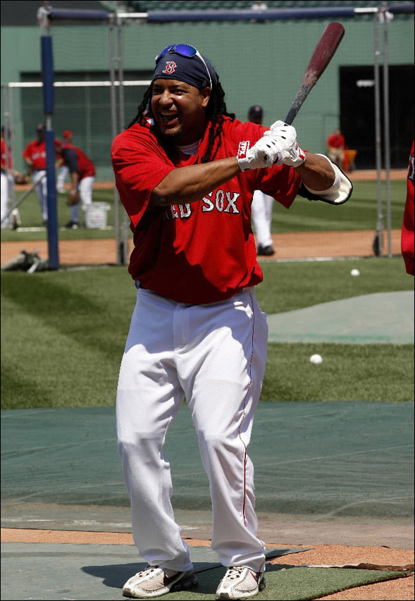 Boston Red Sox left fielder Manny Ramirez participated in today's batting practice and was in today's starting lineup.