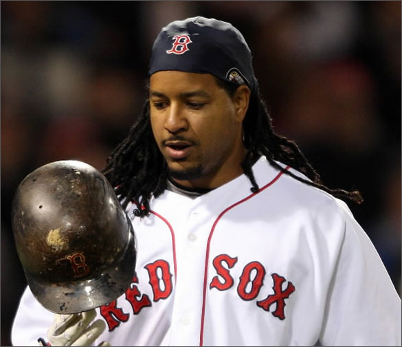 Manny Ramirez #24 of the Boston Red Sox heads to the dugout after he struck out in the bottom of the ninth inning against the Toronto Blue Jays on May 1, 2008 at Fenway Park in Boston, Massachusetts. The Blue Jays defeated the Red Sox 3-0.