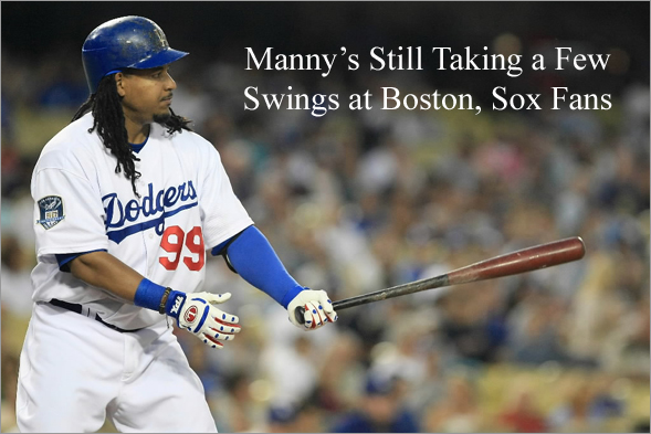 Manny Ramirez bats against the Colorado Rockies on August 19, 2008 at Dodger Stadium in Los Angeles, California.