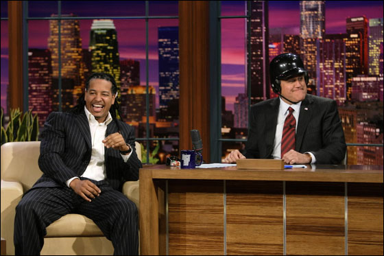 THE TONIGHT SHOW WITH JAY LENO -- Episode 3466 -- Pictured: (l-r) Manny Ramirez, Jay Leno -- NBC Photo: Paul Drinkwater