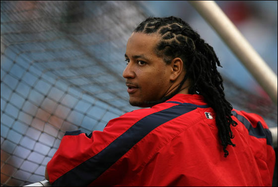 Manny Ramirez of the Boston Red Sox watches batting practice before a game against the New York Yankees on August 29, 2007 at Yankee Stadium in the Bronx borough of New York City.
