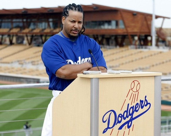 Los Angeles Dodgers Manny Ramirez speaks to the media in Glendale, Arizona, March 5, 2009.