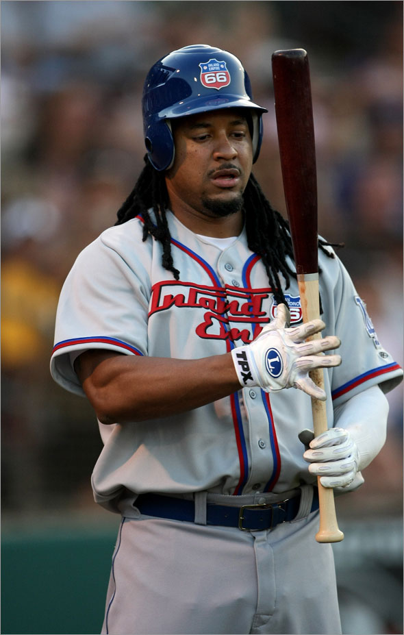 Manny Ramirez of the Inland Empire 66ers waits on deck against the Lake Elsinore Storm on June 27, 2009 at the Lake Elsinore Diamond in Lake Elsinore, California. Ramirez is preparing for hsi return to the Los Angeles Dodgers after a 50 game suspension.