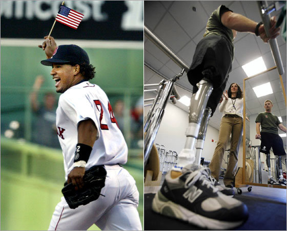 Left: Manny Ramirez took the field for his first game as an American citizen May 11, 2004. Right: U.S. Marine 1st Lieutenant Andrew Kinard works with physical therapist Kyla Dunlavey during his rehabilitation at the Military Advanced Training Center at Walter Reed Army Medical Center in Washington, in this November 6, 2007 file photo. Kinard lost both legs to an improvised explosive device (IED) while on patrol in Rawah, Iraq in October 2006