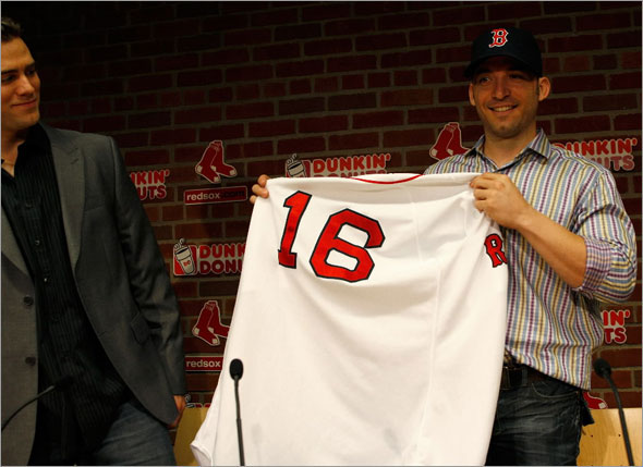 New Red Sox shortstop Marco Scutaro appeared at today's press conference at Fenway Park with Red sox General Manager Theo Epstein.