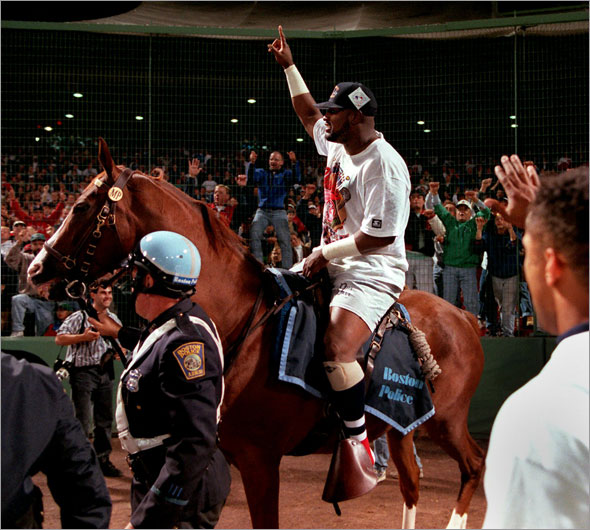 9-20-95: Mo Vaughn on his victory ride following the teams' clinching of the American League East title.