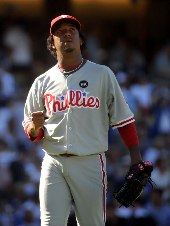 Starting pitcher Pedro Martinez of the Philadelphia Phillies is in the World Series.
