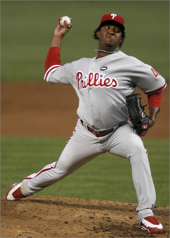 Phillies Pedro Martinez throws to the Chicago Cubs during the second inning of their MLB National League baseball game in Chicago August 12, 2009.