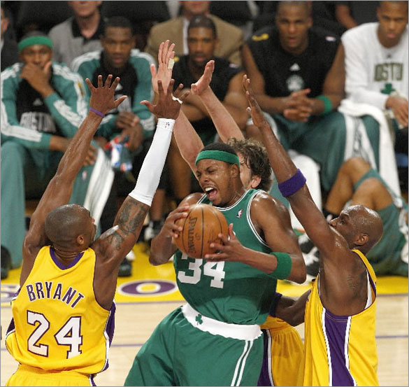 06/10/08 - Boston Celtics forward Paul Pierce is surrounded by Laker defenders during Game 3