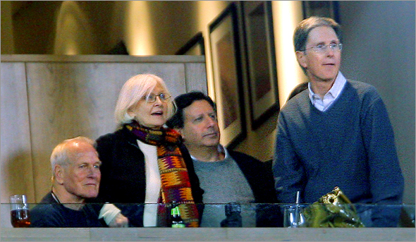 04/12/2006: Actor Paul Newman (left), his wife actress Joanne Woodward, and Red Sox owners Tom Werner and John Henry took in the action at Fenway Park from the owner's box.