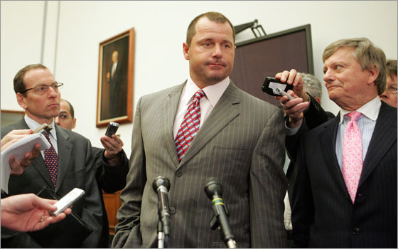 New York Yankees pitcher Roger Clemens speaks to the media alongside his attorneys, Lanny Breuer and Rusty Hardin , after being deposed by the House Oversight and Government Reform Committee about what he knows about steroid use in Major League Baseball on Capitol Hill in Washington, DC, on February 5, 2008.