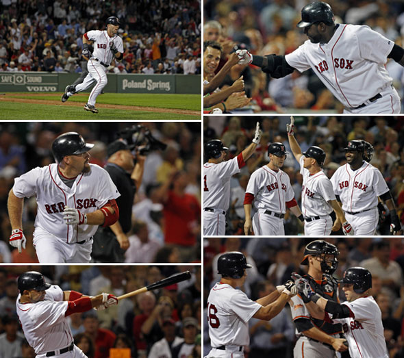 Pedroia hits two, Gonzalez, Drew, Youkilis, and Ortiz also go deep