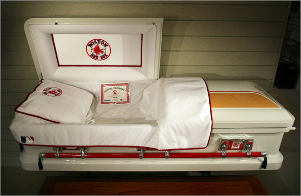 The world's first officially licensed Red Sox Casket for sale at the Magoun-Biggins Funeral Home.