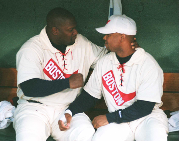 8/28/97 Boston Red Sox vs. Atlanta Braves. Mo Vaughn and Troy O'Leary admire their new old uniforms.