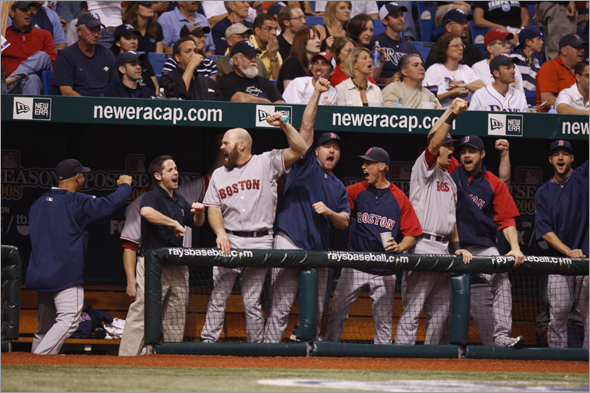 ALCS game 6 Boston Red Sox vs. Tampa Bay Rays - 10/18/08 - St. Petersburg, FL - The Red Sox bench celebrates after catcher Jason Varitek hits a solo home run to make the score 3-2 Sox int the sixth Saturday night at Tropicana Field.