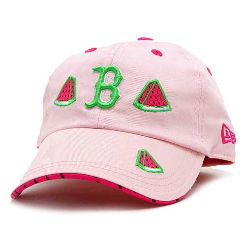 Scratch the watermelons embroidered on the visor to release scent. Team logo in cool green on light pink cap